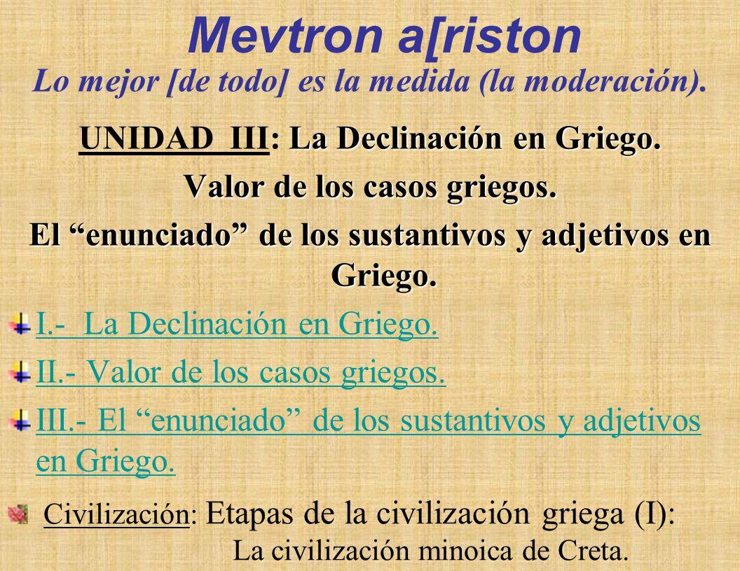 Mevtron a[riston UNIDAD III: La Declinación en Griego.
